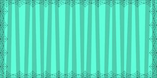 Striped light blue rectangle background with cute vertical stripes framed with spider cobweb. Vector background, banner, Halloween invitation or greeting card royalty free illustration