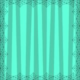 Striped light blue square background with cute vertical stripes framed with spider cobweb. Vector background, flyer, Halloween invitation or greeting card royalty free illustration