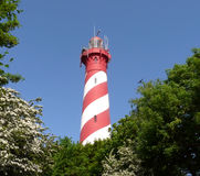 Striped lighthouse stock photography