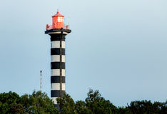 Striped lighthouse on the shore Stock Images