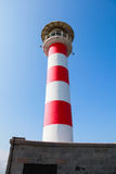 Striped lighthouse tower in port of Burgas Stock Image