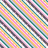 Striped lined seamless pattern with stars. Background Stock Photos