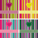 Striped Love Cards. Set with lovely dashed ribbons and hearts Stock Image