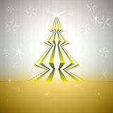 Striped magic christmas tree on gold stars Royalty Free Stock Photo