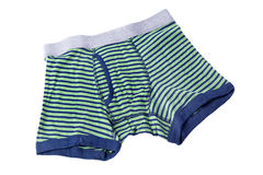 Striped male brief boxers isolated on white Royalty Free Stock Photography