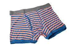 Striped male underwear boxers isolated on white. Background Royalty Free Stock Photos