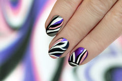 Striped manicure. Stock Image