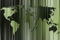 Striped map of the world Royalty Free Stock Images
