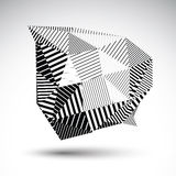 Striped monochrome abstract vector object isolated on white back Royalty Free Stock Photography