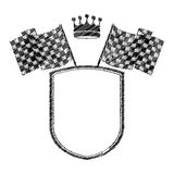 Striped monochrome shield contour with crown and flags. Vector illustration Stock Photography