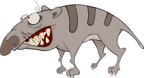 The striped monster. Raccoon. The striped monster with the big teeth Royalty Free Stock Image