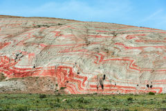 Striped mountains. Amazing red mountains, rocks mountains Stock Images