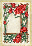 Striped Mum Flowers Frame. Photoshop Illustration, Hand drawn and colored. Vintage old-fashioned look Royalty Free Stock Photo