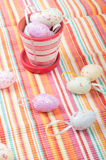Striped napkin and easter eggs Royalty Free Stock Image