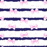 Striped nautical vector background with fancy pink bows Stock Image