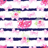 Striped navy seamless vector print with pink satin bows, rose fl Royalty Free Stock Photo