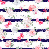 Striped navy seamless vector print with red satin bows and flowers Stock Photo