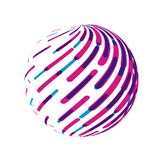 Striped globe. Round abstract circle vector sign stock image