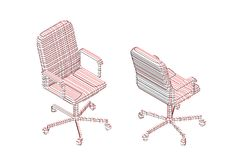 Striped Office chair. Vector contour illustration vector illustration