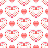 Striped and openwork hearts. Seamless pattern for women. Royalty Free Stock Image