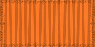 Striped orange rectangle background with cute vertical stripes framed with spider cobweb. Vector background, banner, Halloween invitation or greeting card royalty free illustration