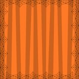 Striped orange square background with cute vertical stripes framed with spider cobweb. Vector background, flyer, Halloween invitation or greeting card template vector illustration