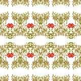 Striped Ornate Floral Seamless Pattern Stock Photography
