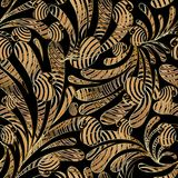 Striped paisleys seamless pattern. Floral abstract background wa. Llpaper. Vintage hand drawn gold black paisley flowers, swirl curve leaves, radial stripes royalty free illustration