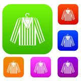 Striped pajama shirt set color collection. Striped pajama shirt set icon color in flat style isolated on white. Collection sings vector illustration Royalty Free Stock Photography