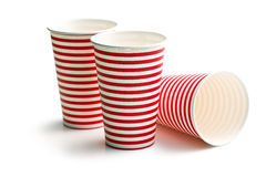 Striped paper cups Royalty Free Stock Image