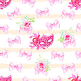 Striped pastel seamless vector print with pink satin bows, rose