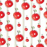 Striped pattern with cherries vector Stock Images