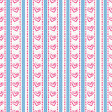 Striped pattern with hearts. Vector seamless background. Royalty Free Stock Photos
