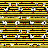 Striped pattern with the image lovely animation mutants of elephants bees Stock Photos