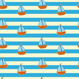 Striped pattern with little ships Stock Image
