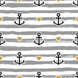 Striped pattern marine. Anchors and hearts. Trendy vector background Royalty Free Stock Photo