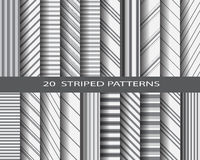 20 striped pattern set. 20 monochome striped patterns, Pattern Swatches, vector, Endless texture can be used for wallpaper, pattern fills, web page,background Stock Photo