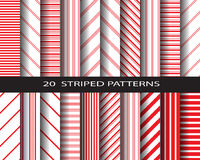 20 striped pattern set. 20 striped patterns, red and write color, vector, Textures for wallpaper, fills, web page background, surface Stock Photo