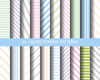 20 striped pattern set. 20 striped patterns, sweet pastel, vector, Textures for wallpaper, fills, web page background, surface Royalty Free Stock Photo
