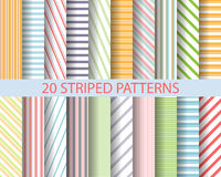 20 striped patterns. 20 color stripes patterns,  Pattern Swatches, vector, Endless texture can be used for wallpaper, pattern fills, web page,background,surface Royalty Free Stock Photography