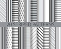 20 striped patterns. 20 different black and white stripes seamless patterns, Pattern Swatches, vector, Endless texture can be used for wallpaper, pattern fills Stock Photo
