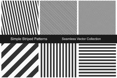 Striped patterns. Seamless vector collection. Royalty Free Stock Photos