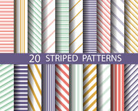 20 striped patterns,. Vector, Textures for wallpaper, fills, web page background, surface Royalty Free Stock Photo