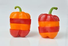 Striped peppers red and orange Royalty Free Stock Photo
