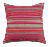 Striped pillow. Color pillow isolated on white Stock Photo