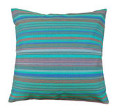 Striped pillow. Color pillow isolated on white Royalty Free Stock Image