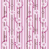 Striped pink floral seamless pattern Royalty Free Stock Photos
