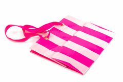 Striped Pink Paper Bag isolated Royalty Free Stock Images