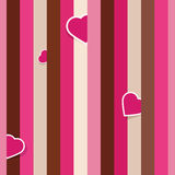 Striped pink seamless pattern with hearts Royalty Free Stock Image