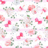 Striped pink seamless vector print with red satin bows, speckles and flowers Royalty Free Stock Photography